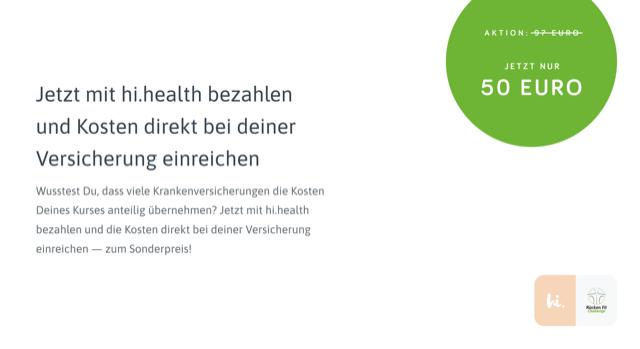 Mit hi.health bezahlen und 50% sparen